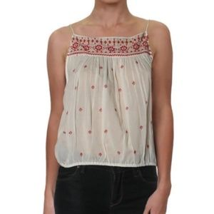 NWT Free People Embroidered Tassel Tank Top